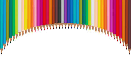 Color pencils located arc on a white background. Vector illustration EPS 10