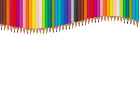 Many color pencils arranged in waves on a white background. Vector illustration EPS 10 Stock Illustratie