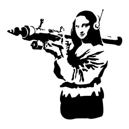 Plantilla de graffiti. Silueta de una mujer con un arma en sus manos. Ilustración vectorial