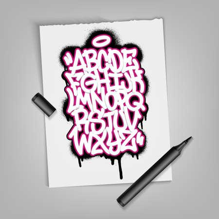 Handwritten graffiti alphabet. Artistic typography collection. Custom vector calligraphy set EPS 10