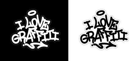 I love graffiti. Graffiti tag in black over white, and white over black. Vector illustration Eps 10