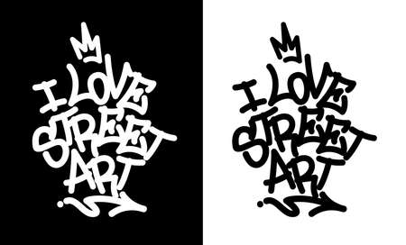 I love street art. Graffiti tag in black over white, and white over black. Vector illustration Eps 10