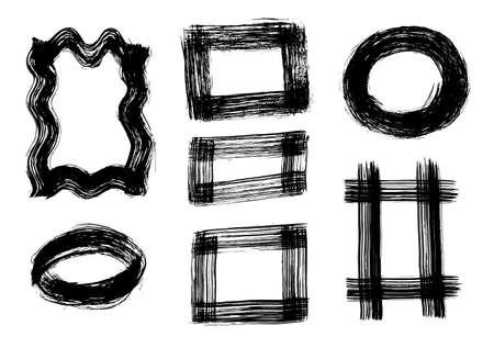 Una serie di tratti di pennello grunge. Illustrazione del tratto di pennello vettoriale EPS 10