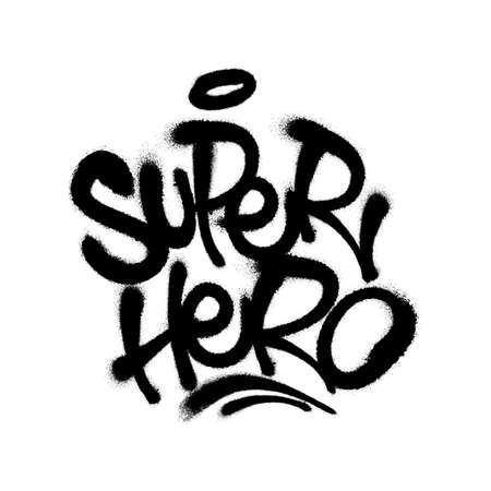 Sprayed super hero font with overspray in black over white. Vector illustration.