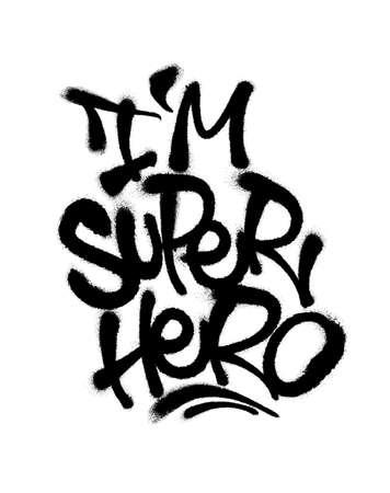 Sprayed i super hero font with overspray in black over white. Vector illustration.