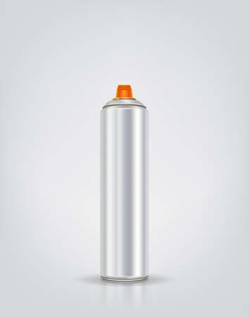 Silver graffiti spray can. Vector illustration with reflect and shadow. Ultra wide spray paint.