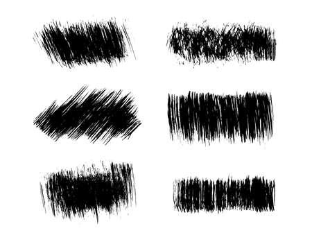 Brush strokes set hand drawn scribble abstract vector illustration. Border design template. EPS 10 Vektoros illusztráció
