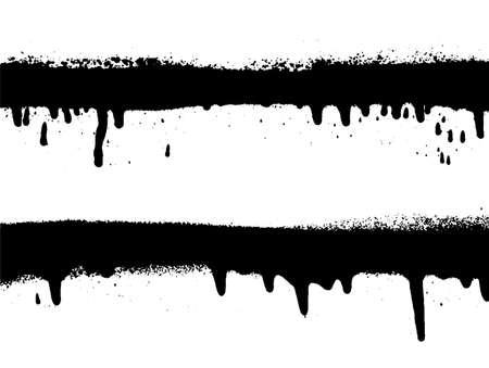 Graffiti Spray Banner Set. Vektorsprühfarbe Rahmen. Sehr detaillierte Vorlage für Hintergründe oder Design. Vektorgrafik