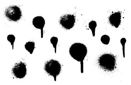 Zestaw plam z rozmazami wykonanymi w sprayu. Ilustracja wektorowa. Bardzo szczegółowy szablon tła lub projektu.