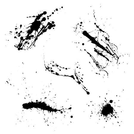 Diverses éclaboussures décoratives de graffiti de peinture en aérosol. Splat de vecteur sur fond blanc