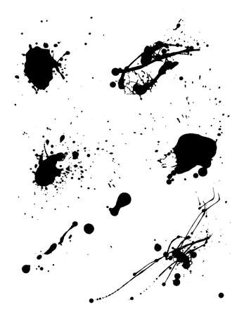 Various spray paint graffiti decorative splatters. Vector illustration.