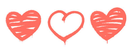 Sprayed graffiti hearts set in coral on white. Vector illustration EPS 10