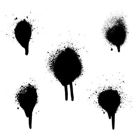 Various spray paint graffiti decorative splatters. Vector splat set on white background EPS 10
