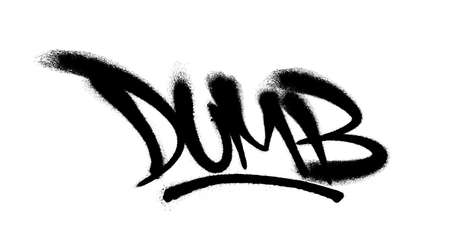 Sprayed dumb font graffiti with overspray in black over white. Vector illustration EPS 10 Illustration