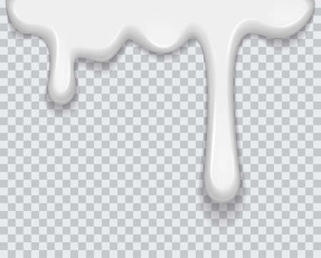Vector white milk splash, ice cream flow soft texture or drips spray paint on transparent background. For sweet dessert design or your other design EPS 10