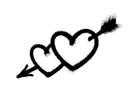 Sprayed heart pierced by an arrow. Vector illustration EPS 10 Vettoriali