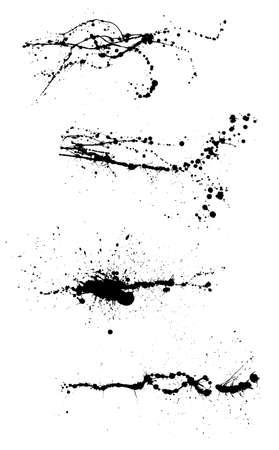 Diverses éclaboussures décoratives de graffiti de peinture en aérosol. Splat de vecteur sur fond blanc Vecteurs
