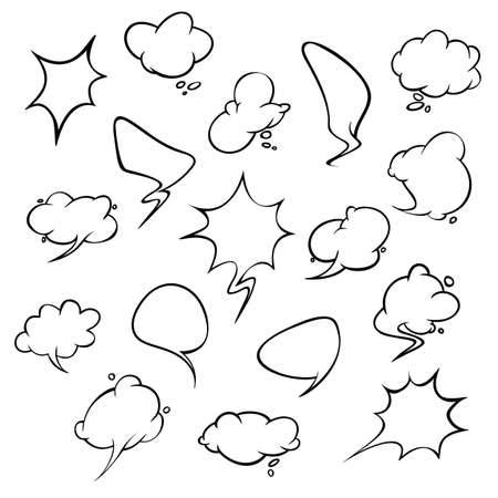 Stickers of speech bubbles vector set. Empty comic bubbles. EPS 10