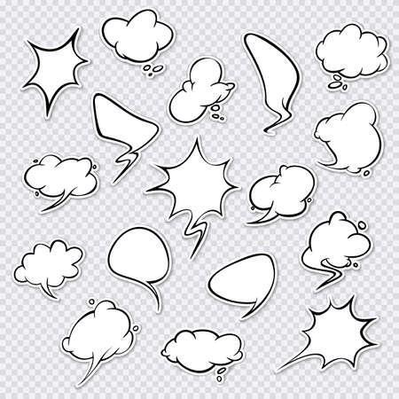 Stickers of speech bubbles vector set. Empty comic bubbles. EPS 10 Foto de archivo - 124808930