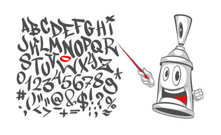 Graffiti character with a pointer in his hand - teaches the alphabet. Spray can. Graffiti Street art. Vector illustration spray on a white background.