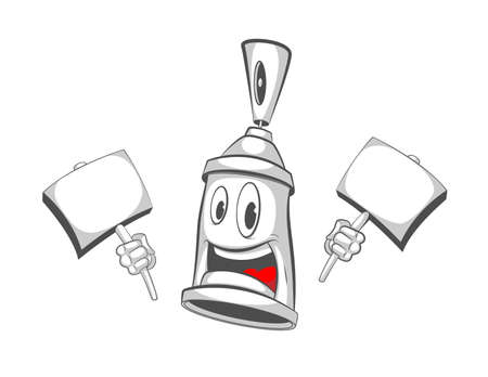 Graffiti character with tablets in his hands. Spray can. Graffiti street art. Vector illustration of spray on white background