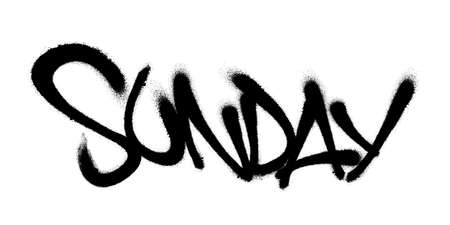 Sprayed sunday font with overspray in black over white. Vector illustration EPS 10