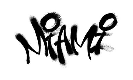 Sprayed Miami font graffiti with overspray in black over white. Vector illustration. Illustration