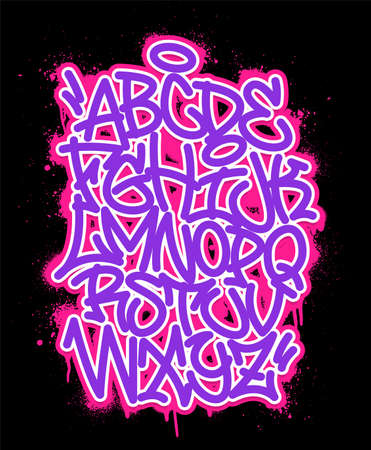 Handwritten graffiti font alphabet. Set on black background.  イラスト・ベクター素材