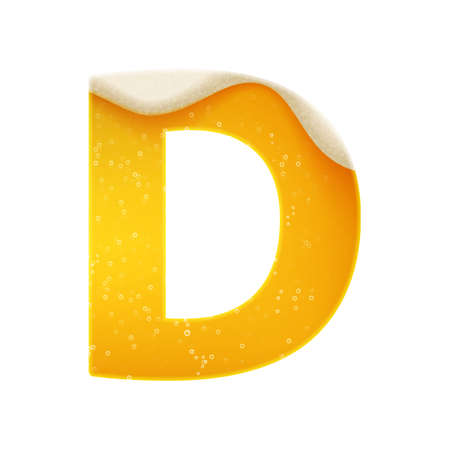 The alphabet in the form of lemonade or beer. Letter D. Vector illustration on white background