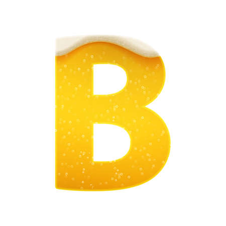 The alphabet in the form of lemonade or beer. Letter B. Vector illustration on white background