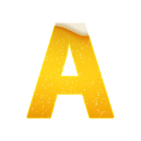 The alphabet in the form of lemonade or beer. Letter A. Vector illustration on white background