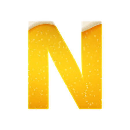 The alphabet in the form of lemonade or beer. Letter N. Vector illustration on white background