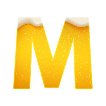 The alphabet in the form of lemonade or beer. Letter M. Vector illustration on white background