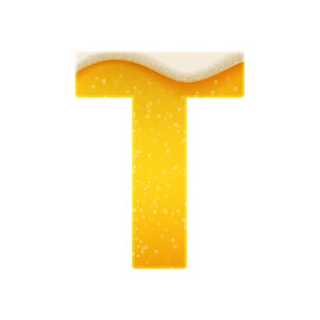 The alphabet in the form of lemonade or beer. Letter T. Vector illustration on white background