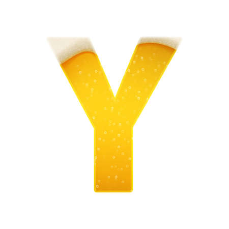 The alphabet in the form of lemonade or beer. Letter Y. Vector illustration on white background
