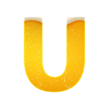 The alphabet in the form of lemonade or beer. Letter U. Vector illustration on white background