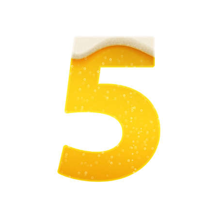 The digits for alphabet in the form of lemonade or beer. Digit 5. Vector illustration on white background