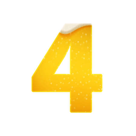 The digits for alphabet in the form of lemonade or beer. Digit 4. Vector illustration on white background