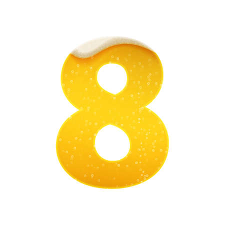 The digits for alphabet in the form of lemonade or beer. Digit 8. Vector illustration on white background