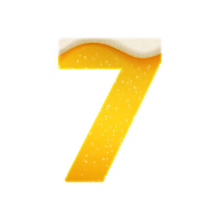 The digits for alphabet in the form of lemonade or beer. Digit 7. Vector illustration on white background