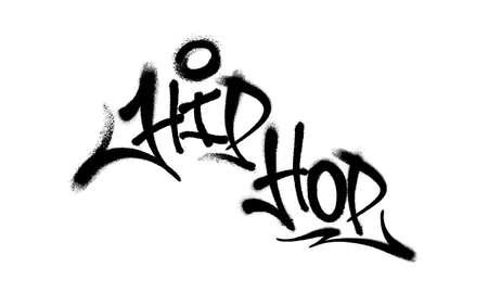 Sprayed hip hop font graffiti with overspray in black over white. Vector illustration. Иллюстрация