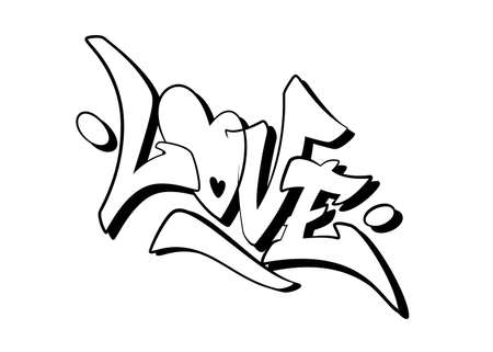 Love word drawn by hand in graffiti style. Vector illustration