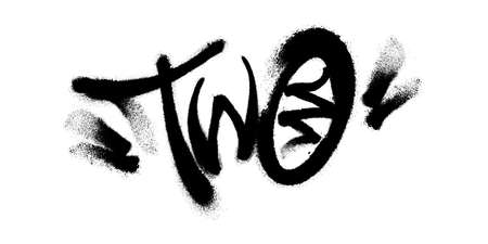 Sprayed two font with overspray in black over white. Vector graffiti art illustration.