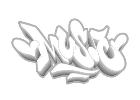 Music word drawn by hand in graffiti style. Vector illustration