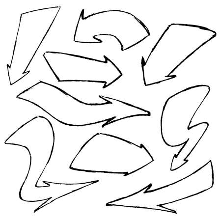 Set of hand-drawn doodle vector black arrows on white background.