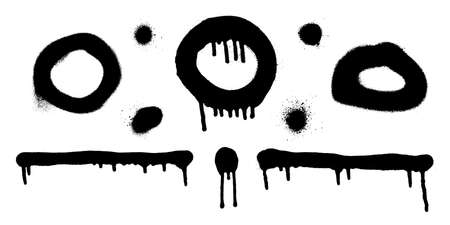 Set of graffiti spray banner. Vector spray paint shapes with smudges