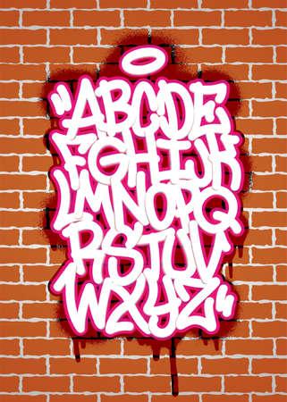 Handwritten graffiti font alphabet. Alphabet on a brick wall background. Vector illustration Иллюстрация