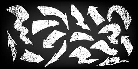 Set of hand-drawn doodle arrows. White arrows on black background in grunge style