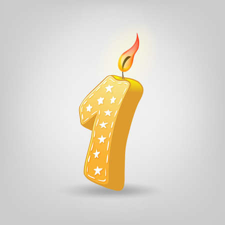 Colored candles for the holiday. Hand-drawn vector illustration. Number one