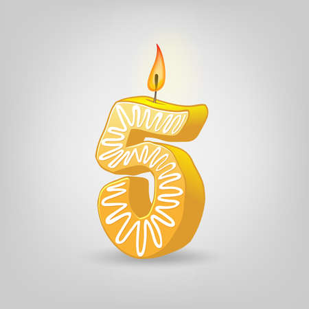 Colored candles for the holiday. Hand-drawn vector illustration. Number five